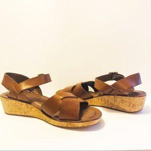 Kork-Ease Leather Cork Wedge Sandals Sz 9/ 40 EUR